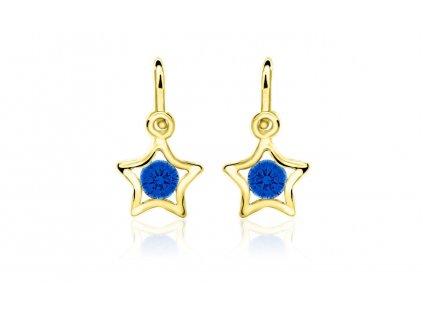 dětské náušnice žluté zlato s kamínky tmavě modrými hvězdičky zapínání brizura emmys EM70387
