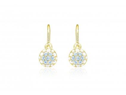 dětské náušnice žluté zlato s kamínky bílými+světle modrými kulaté zapínání brizura emmys EM70414