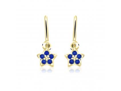 dětské náušnice žluté zlato s kamínky tmavě modrými hvězdičky zapínání brizura emmys EM70567