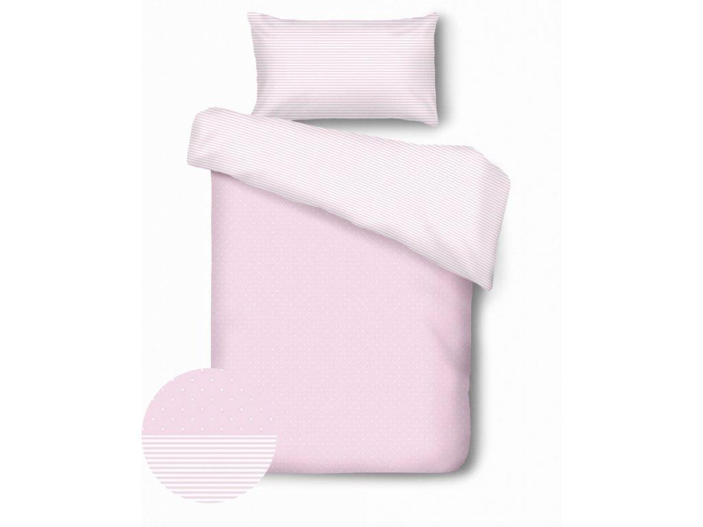 detské obliečky v ružovej farbe s pásikmi a bodkami Dots Stripes