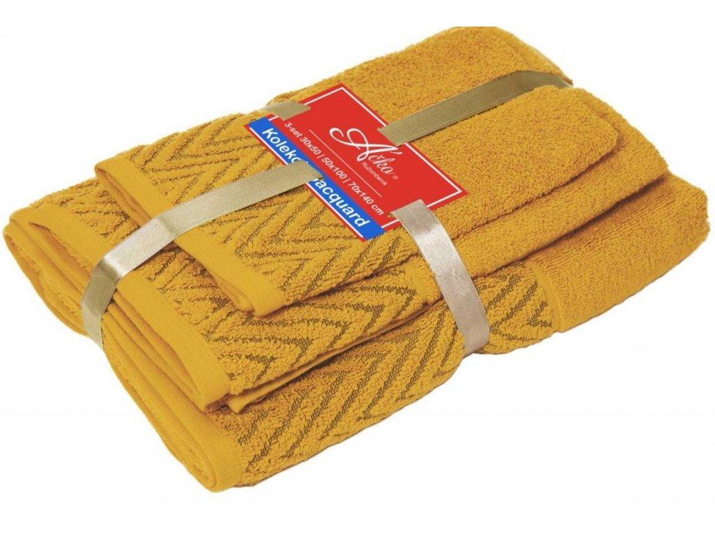 uteráčik 50x30 cm, uterák 50x70 cm osuška 70x140 cm Wave, farba žltá