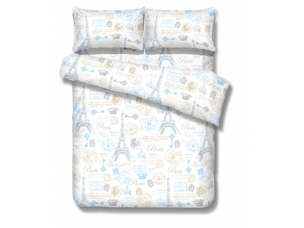 posteľné obliečky Paríž v modrej farbe