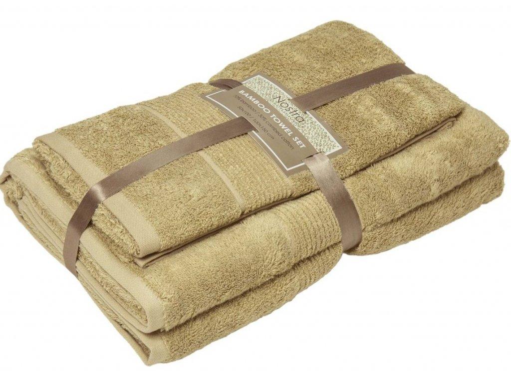 2 set bambusové uteráky 50x100 osušky 100x150 sand