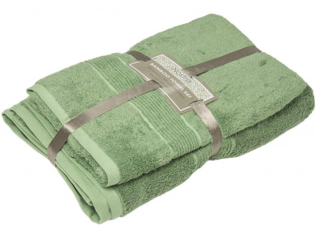 2 set bambusové uteráky 50x100 osušky 100x150 mineral green