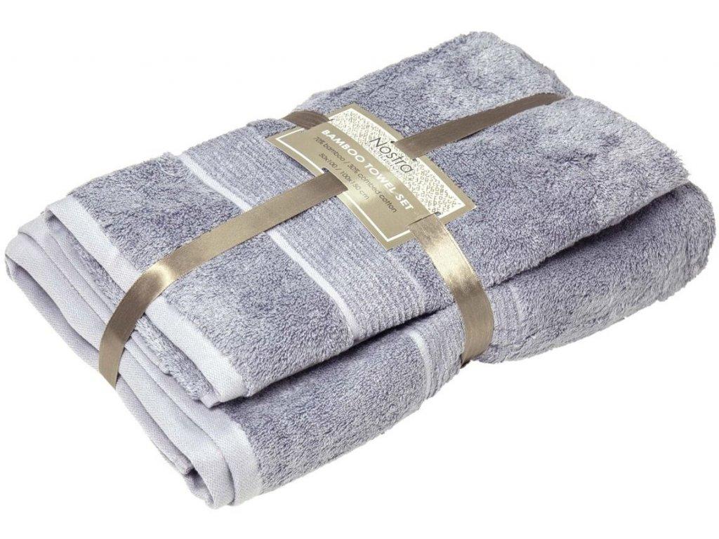 2 set bambusové uteráky 50x100 osušky 100x150 grey blue