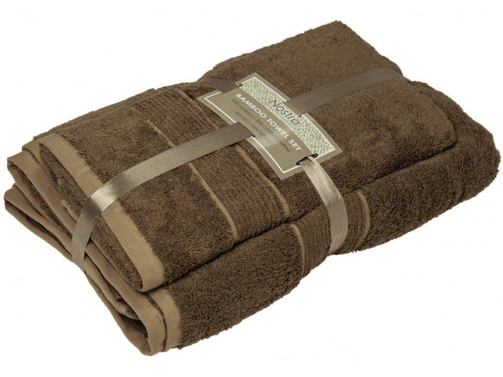 2 set bambusové uteráky 50x100 osušky 100x150 ginger brown