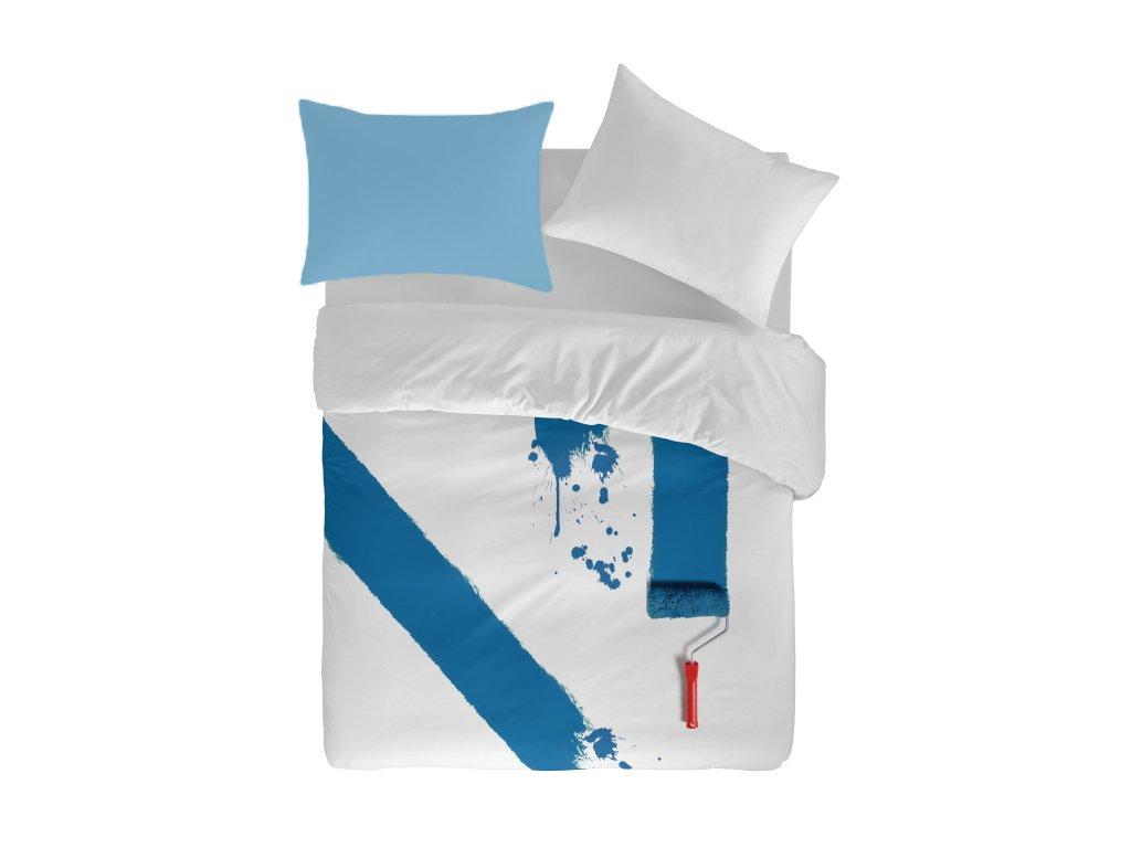 bavlnené obliečky v modrej a bielej farbe Paiting
