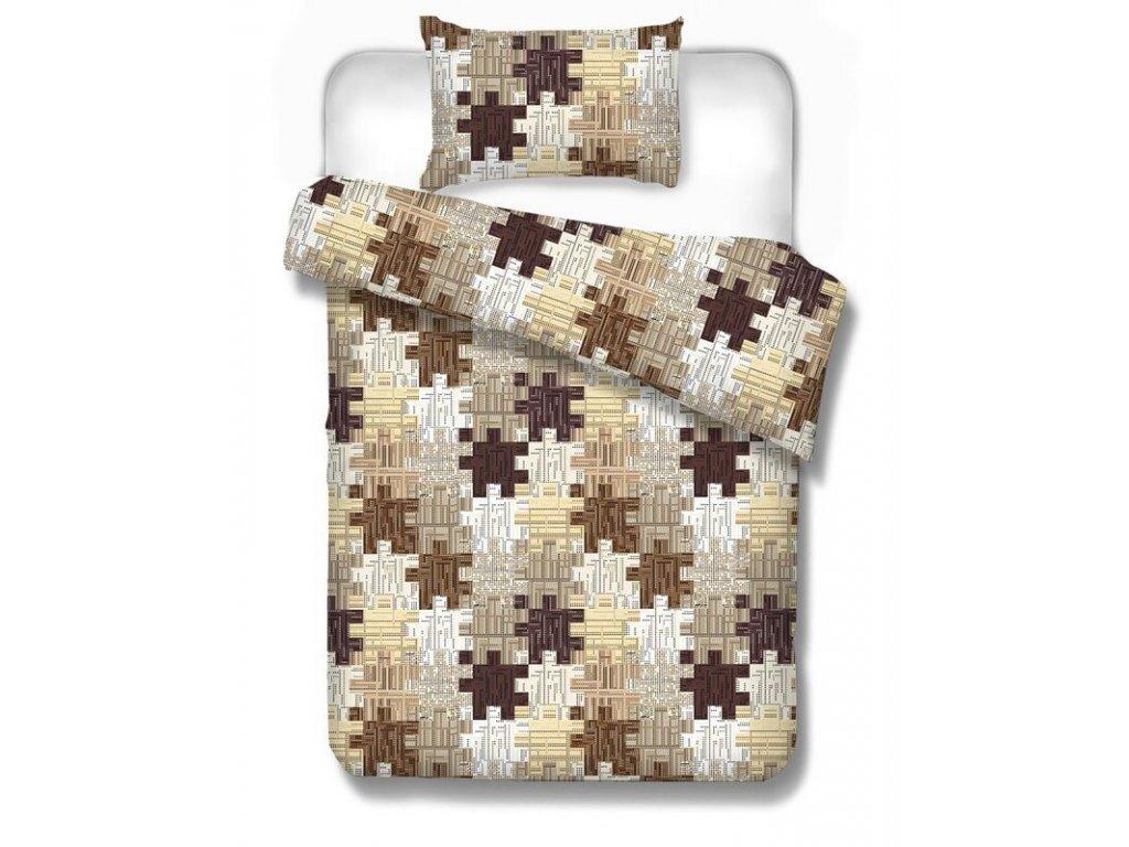 Bavlnené obliečky Kremnica brown 70x90 140x200 cm