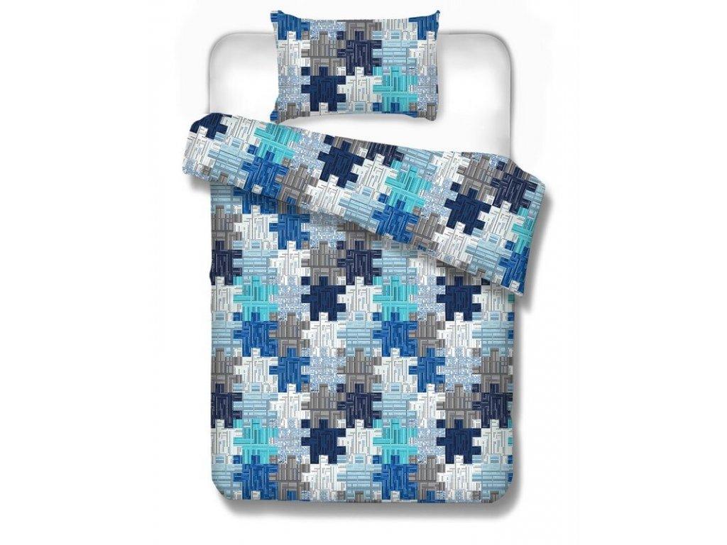 Bavlnené obliečky Kremnica blue 70x90 140x200 cm