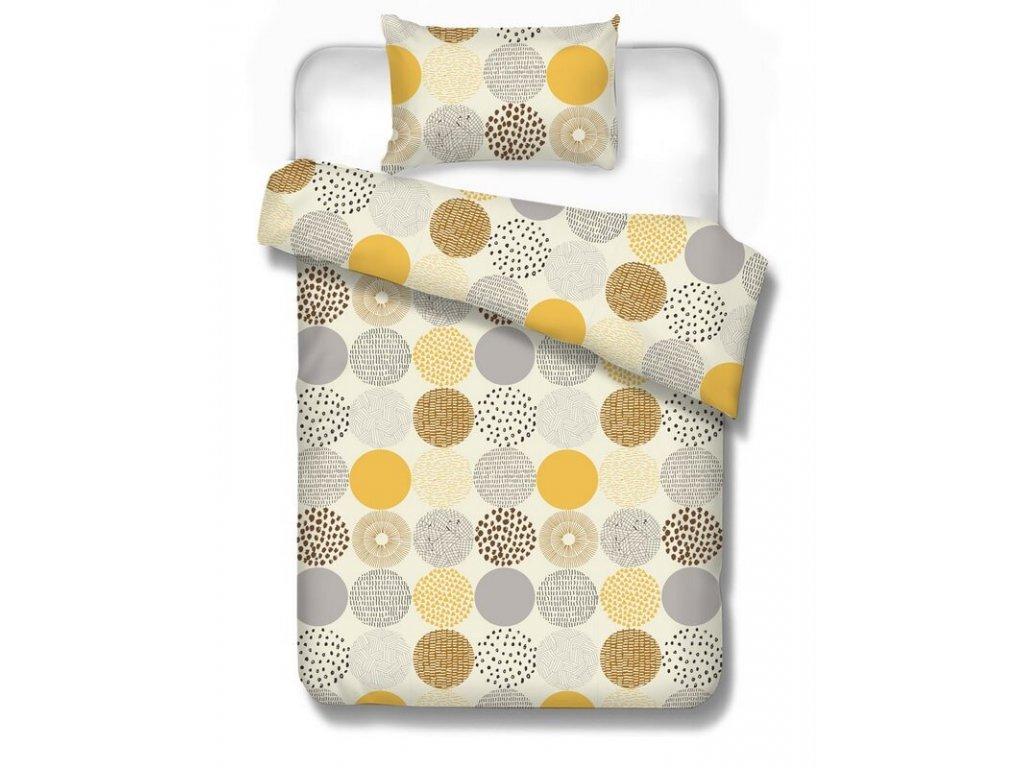 Bavlnené obliečky Bastrica brown 70x90 140x200 cm s geometrickým vzorom