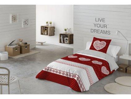 bavlnené obliečky s červeným srdcom Lily red