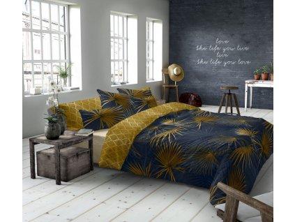 makosaténové obliečky v modrej a žltej farbe s papraďami San Marino
