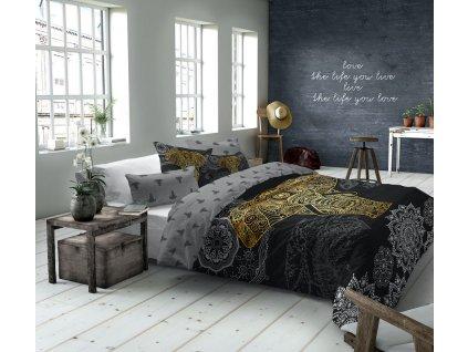 obliečky so slonom, čierno zlatá farebnosť, obliečky Golden Elephant