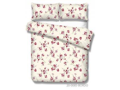 Bavlnené obliečky s červenými kvetmi na béžovom podklade Maria red