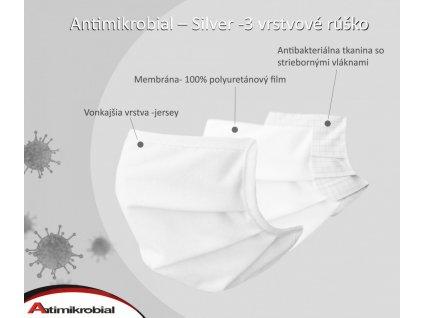antimikrobial silver 3 vrstvové rúško biele sčasticami striebra
