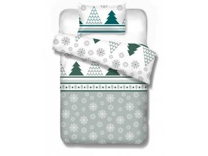 Flanelové obliečky v sivej farbe vianočný motív Finland