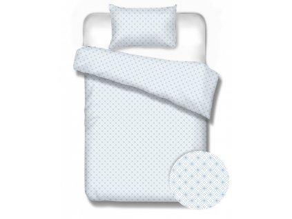 flanelové obliečky farba biela a modrá Scandinavia rozmer 70x90 140x200 cm