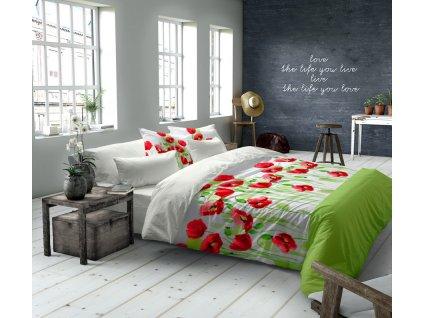 obliečky vlčí mak farba červená a zelená Grande poppies rozmer 70x90 140x200 cm na emozzione.sk