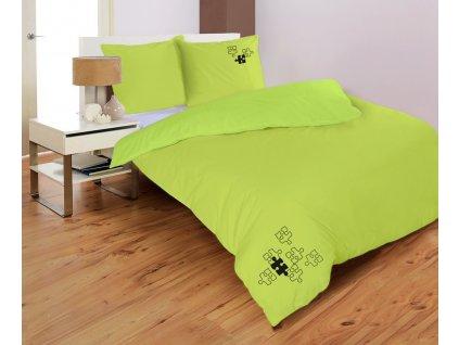 saténové obliečky farba zelená Puzzle rozmer 70x90, 140x200 cm na emozzione.sk