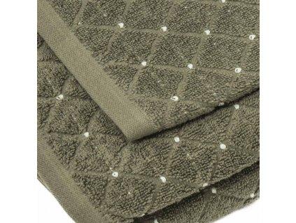 uteráky a osušky s moderným vzorom Diamond v hnedej farbe detail