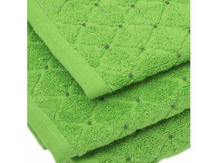 uteráky a osušky Diamond farba zelená detail