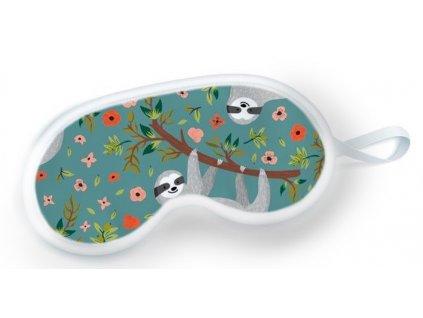maska na spanie v tyrkysovej farbe s motívom leňochoda