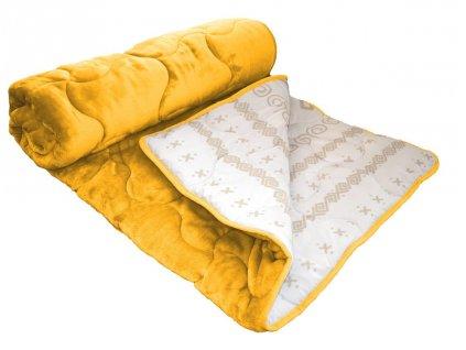 plyšová deka s čičmanským vzorom v žltej farbe
