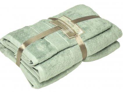2 set bambusové uteráky 50x100 osušky 100x150 smoke green