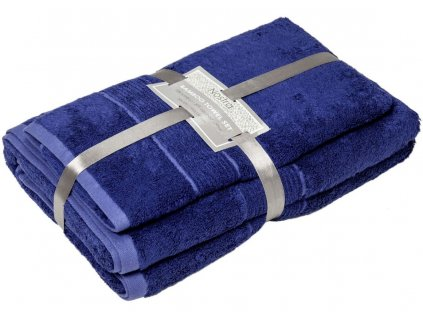 2 set bambusové uteráky 50x100 osušky 100x150 marine blue