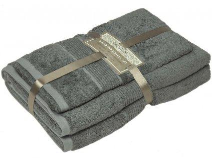 2 set bambusové uteráky 50x100 osušky 100x150 frost grey