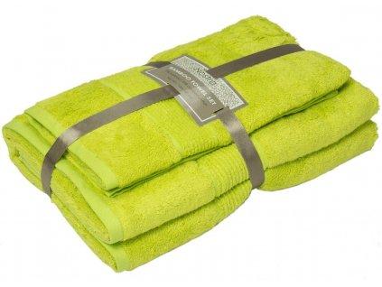 2 set bambusové uteráky 50x100 osušky 100x150 apple green