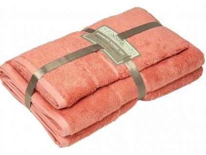 2 set bambusové uteráky 50x100 osušky 100x150 coral pink