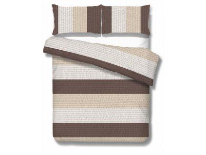 krepové obliečky Poreč brown 140x200 70x90 cm v hnedej a béžovej farbe