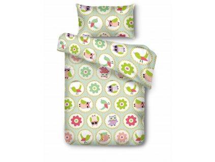 bavlnené obliečky Owls pastel green