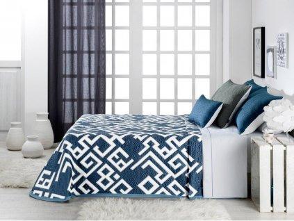 žakárový prehoz na posteľ Kaira blue