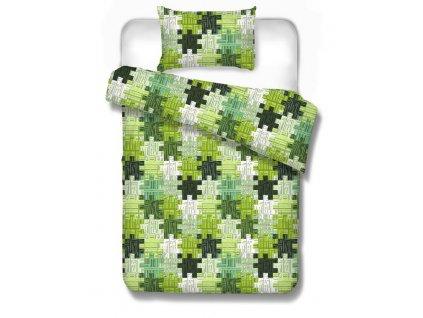 Bavlnené obliečky Kremnica green 70x90 140x200 cm