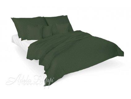 Luxusné damaškové obliečky v zelenej farbe na posteli