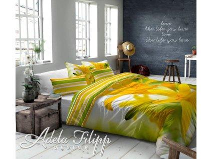 Ľalia makosaténové žlto zelené obliečky