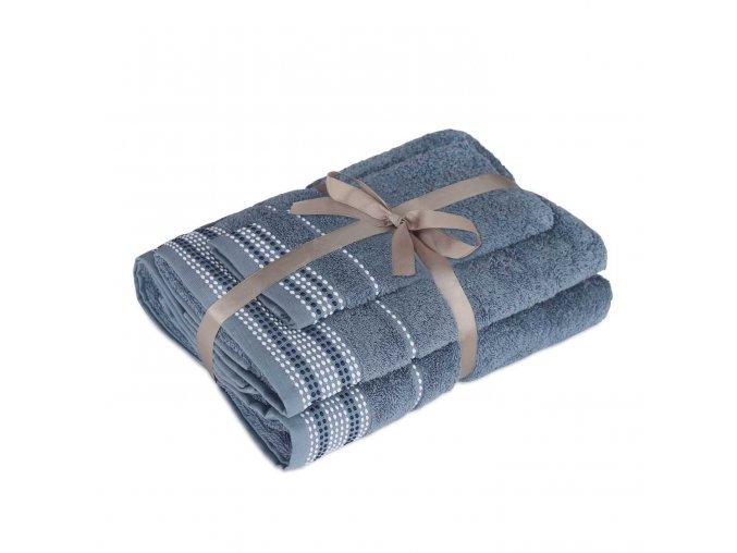 3set DOTS STONE BLUE uteráky a osušky 50x30, 50x100, 70x140 cm Emozzione