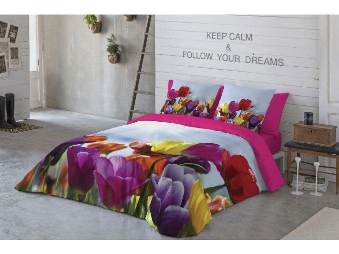 saténové obliečky Tulip s kvetmi tulipámni