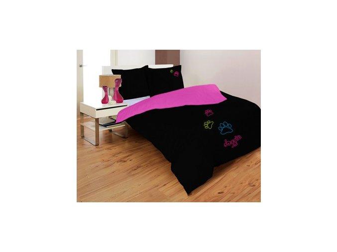 DOGGIE BLACK/MAGENTA - saténové obliečky