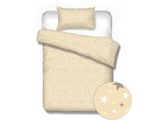 flanelové obliečky s hviezdičkami Sterne beige
