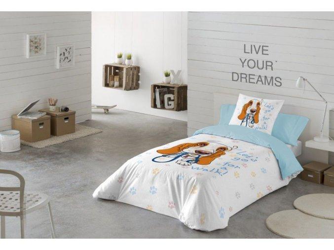 bavlnené obliečky BRUNO. Dizajn pes. Farba béžová, svetlmodrá.