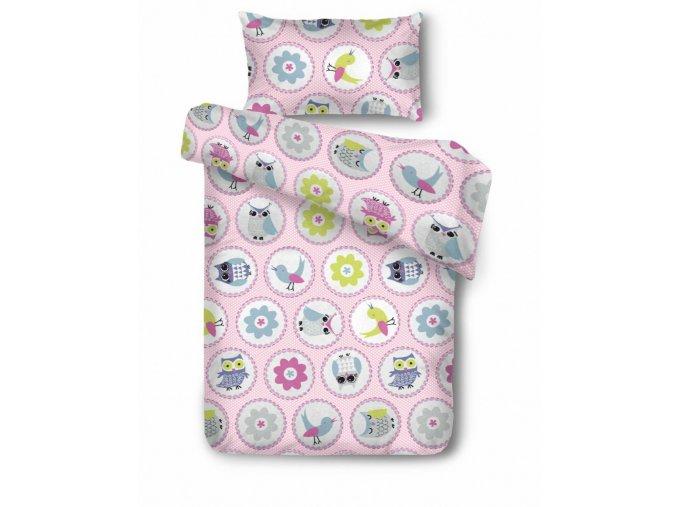 detské obliečky Owls pastel rosa