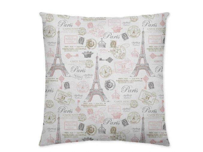 vankúš 45x45 cm s motívom Eifelovej veže v Paríži v ružových odtieňoch