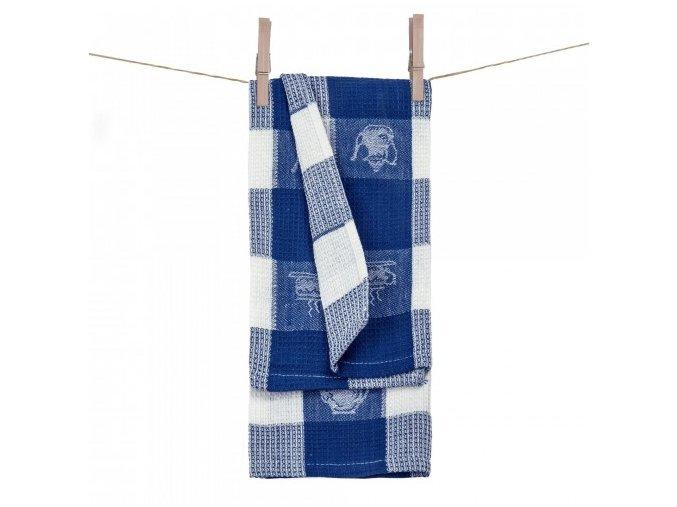 vaflové utirky 100% bavlna v modrej farbe Coffe time