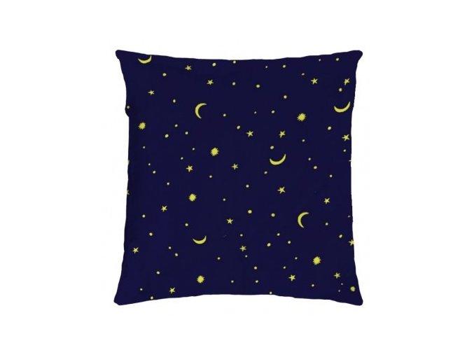 modrý dekoračný vankúš so žltými hviezdami a mesiačikmi Good night