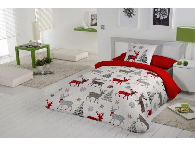 Bavlnené obliečky v červenej farbe Deer