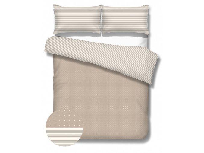 detské posteľné obliečky Dots Stripes mocca