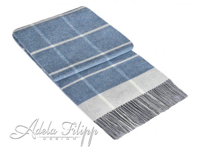 kašmírová deka Andora forever blue karo v modrej farbe na emozzione.sk